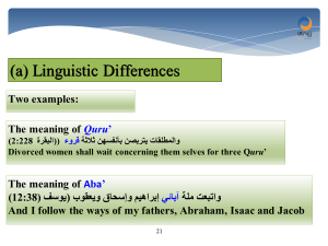 linguistic differences in interpreting the Quran